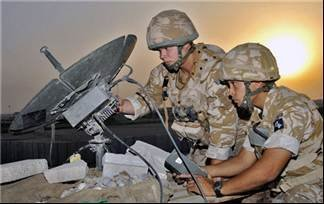 Royal Signals Soldiers operating a PSC 506 communications satellite system in Iraq