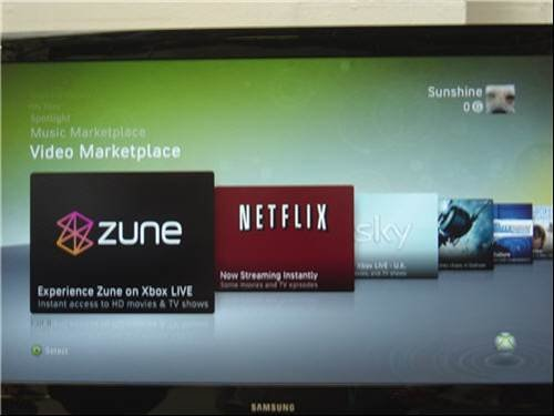 Zune and Netflix on the Xbox 360 menu - Microsoft gadgets and products for Xmas