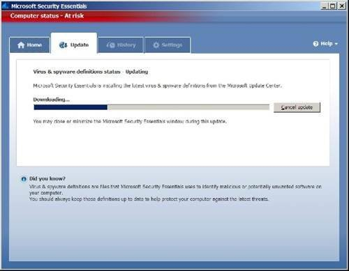 Update AV signature files on Microsoft Security Essentials
