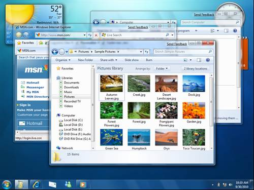 Desktop layout Windows 7 New features