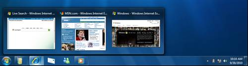 Windows Taskbar Previews - Windows 7 New features