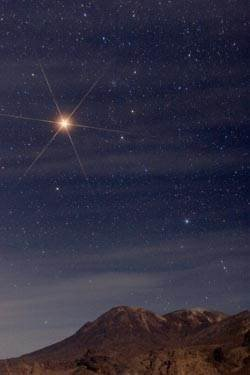 Mars above Mount Taftan on Iranian Pakistan border