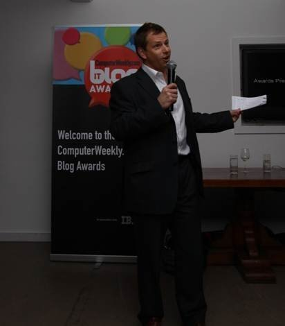 James Garner presents the Blog Awards ceremony