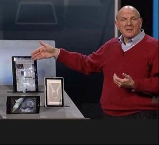Steve Ballmer shows off the Microsoft Slate