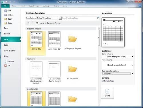 the new backstage view in publisher 2010 showing template