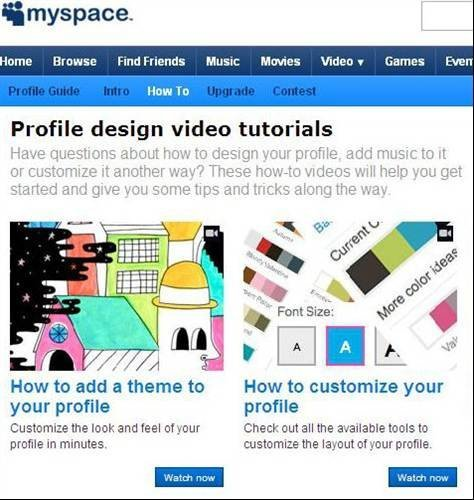 MySpace offers video tutorials