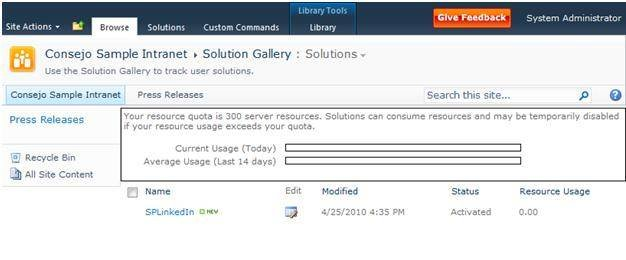 The solution gallery for site collections in SharePoint 2010