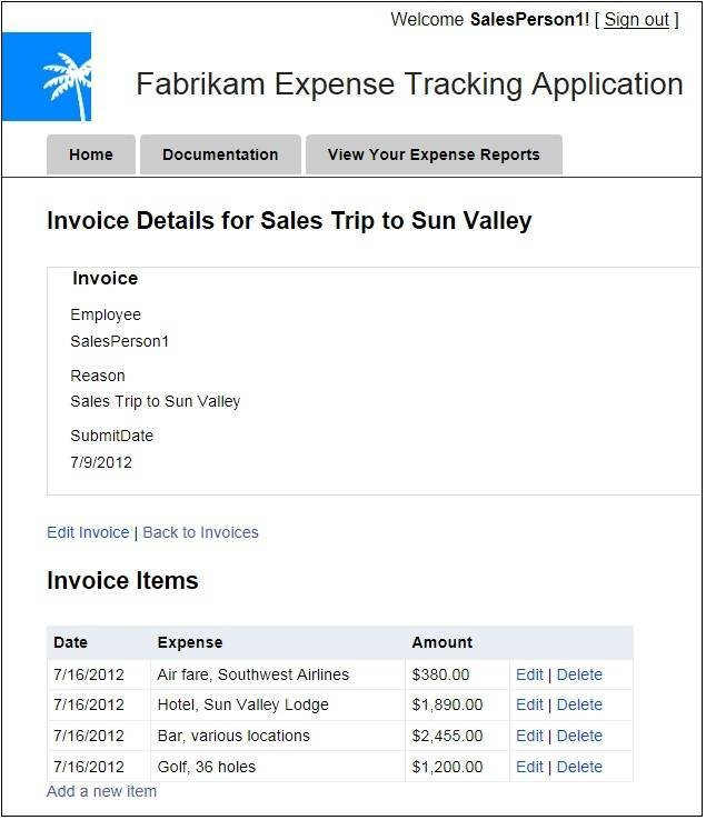 Invoice Enclosed Word Oakleaf Systems Windows Azure And Cloud Computing Posts For   Carbon Copy Receipt Pdf with Apple Crisp Receipt Pdf Figure  Use The Fabrikam Demo To Add Or Edit Detail Items Of An Expense  Report Google Drive Invoice Pdf