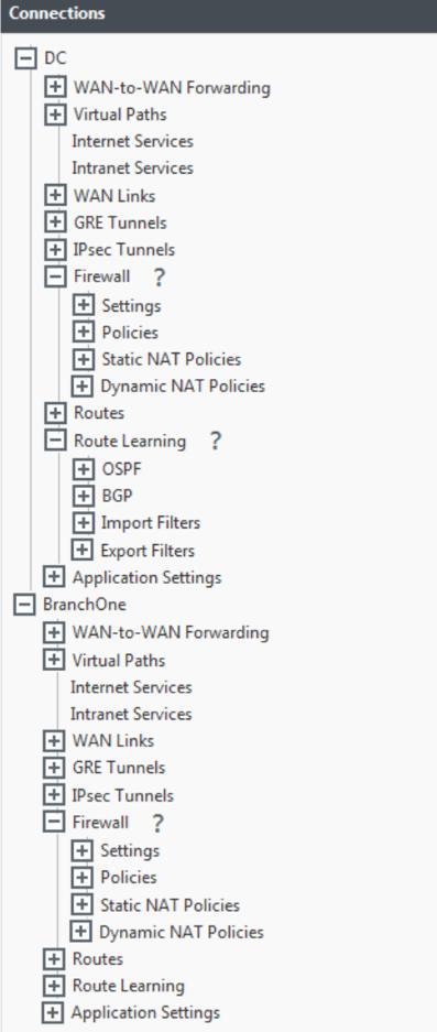 A list of NetScaler SD-WAN configuration options