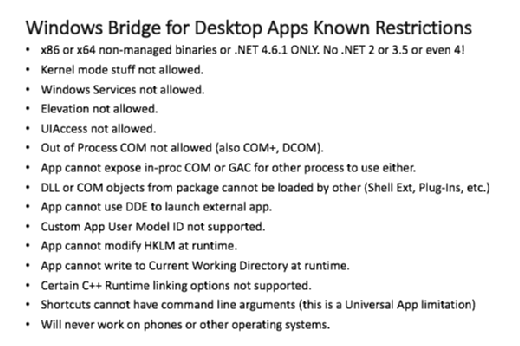 Windows Bridge for Desktop Apps Known Restrictions