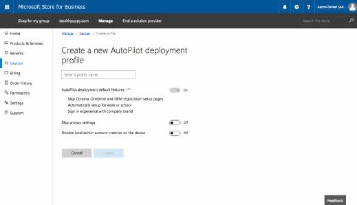 Creating a Windows AutoPilot profile.