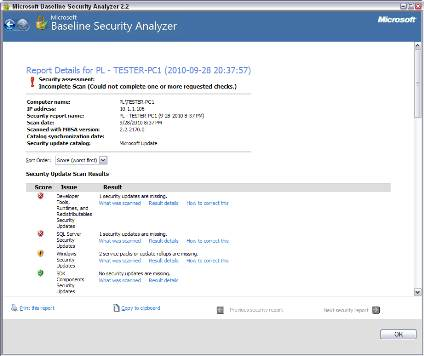 MBSA's reports clearly show which administrative vulnerabilities were found.
