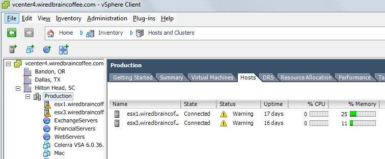 Monitor vSphere virtual host servers for Exchange 2010.