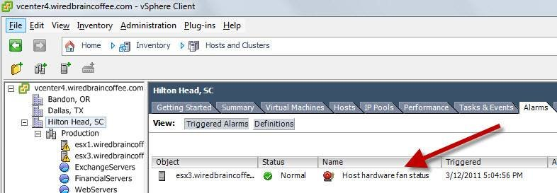 Monitor virtual host server alarms.
