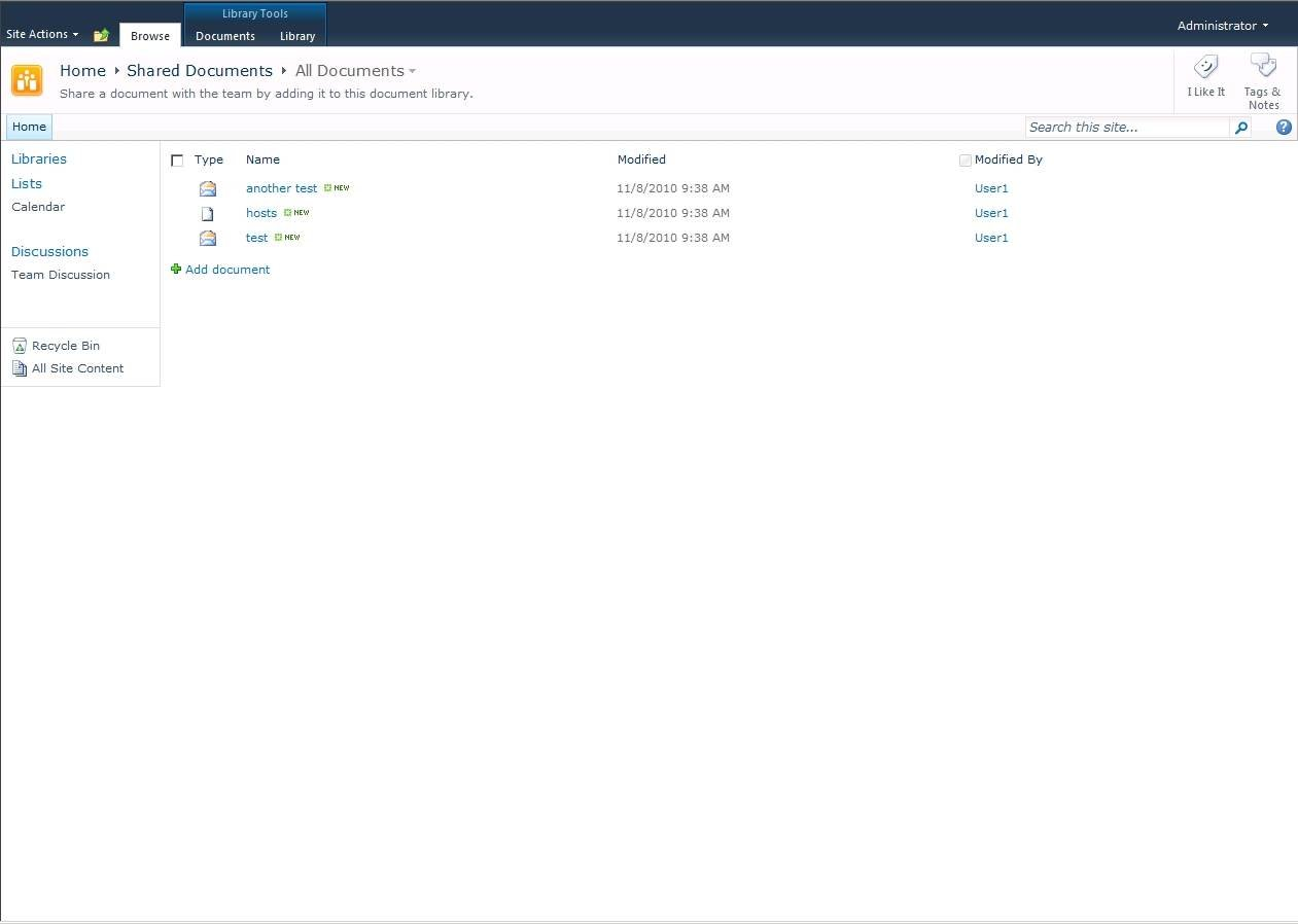 Displaying a message in the SharePoint document library.
