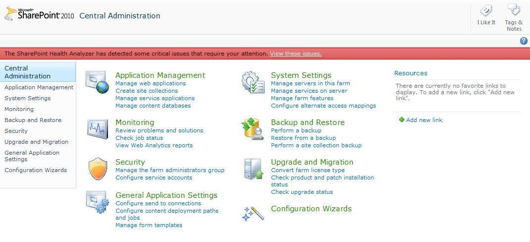 SharePoint 2010 Central Administration root page.
