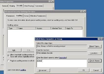 Advanced security settings in ADUC