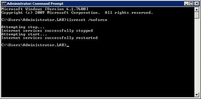 Reset IIS with the IISRESET/NoForce command