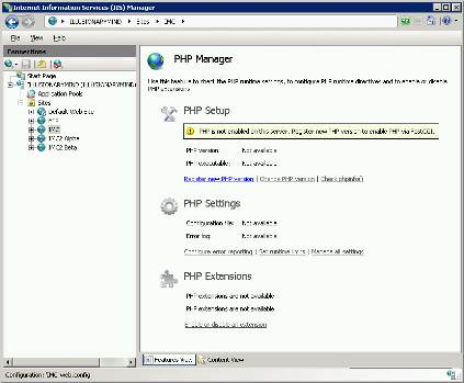 PHP Manager being used in an IIS site. No instance of PHP has been registered with this particular site yet, but different instances of PHP can be set up on different sites.