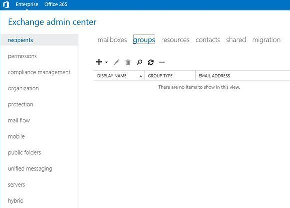 On-Premises Exchange Admin Center