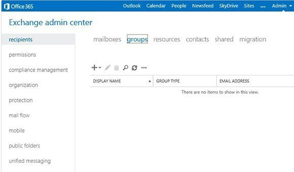 Office 365 Exchange Admin Center