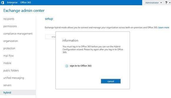Exchange Admin Center - Hybrid Tab
