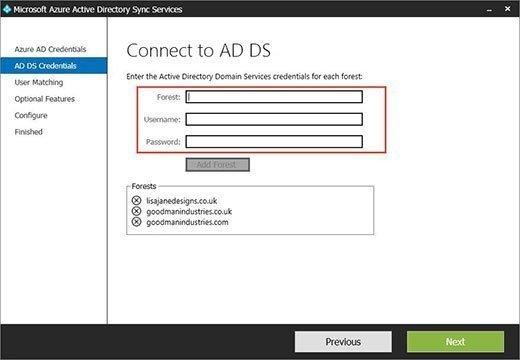 Connecting Azure AD Sync Services to each Active Directory forest