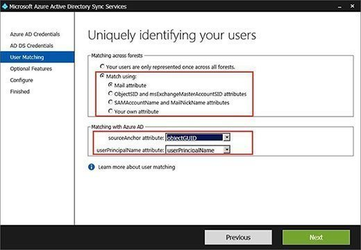 On-premises Exchange and Office 365 account matches