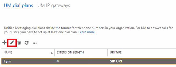 New dial plan in Exchange Admin Center