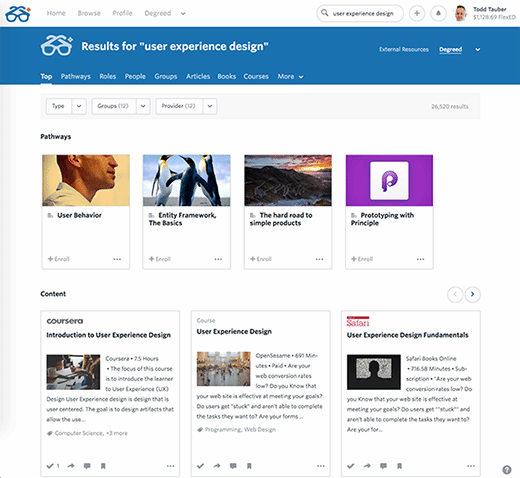 Search results page for Degreed online learning software