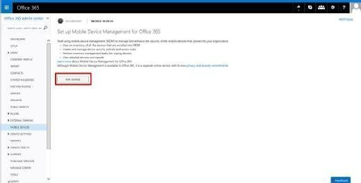 Set up MDM in Office 365 portal