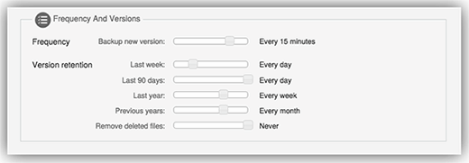 CrashPlan frequency setup screen