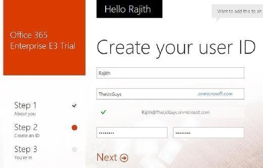 Free Office 365 trial form
