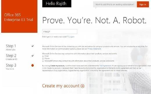 Create My Account for Office 365 trial
