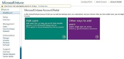 Microsoft Intune portal