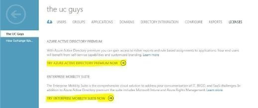 Azure AD Premium and Enterprise Mobility Suite option
