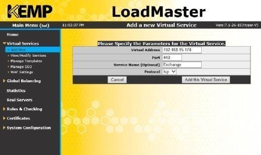 kemp loadmaster add virtual server