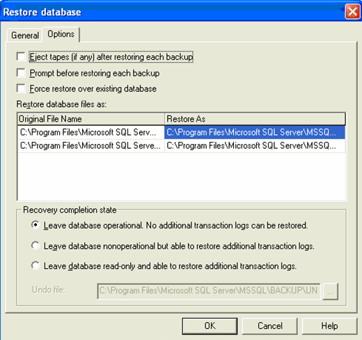 Restore database with T-SQL