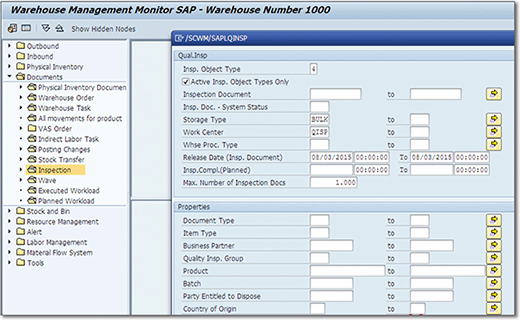 Initial screen of SAP Extended Warehouse Management Monitor for quality inspection reporting