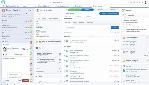 A view of the Salesforce Lightning Dialer