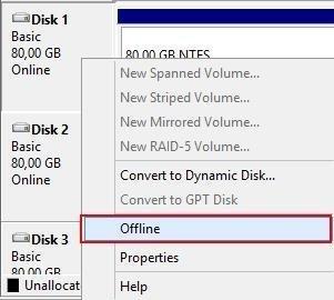 Disks offline