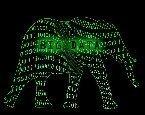 Elephant with big data and binary code