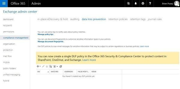Span multiple services with Office 365 data loss prevention policies