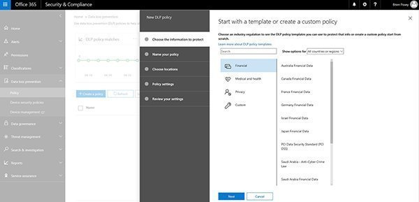 Span multiple services with office 365 data loss prevention policies dlp policy templates pronofoot35fo Choice Image