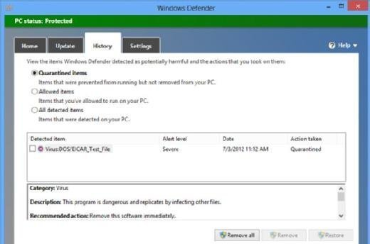 Windows Defender interface