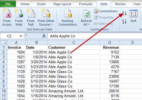 Excel AZ button