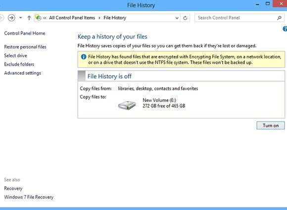 Excluding individual folders from File History