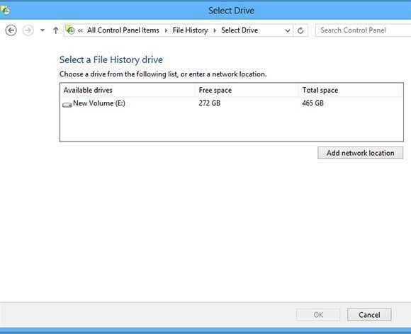Saving File History data to network location