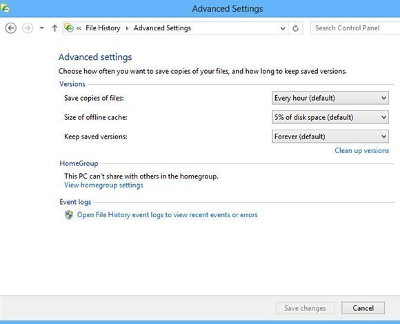 Controlling backup frequency through Advanced Settings