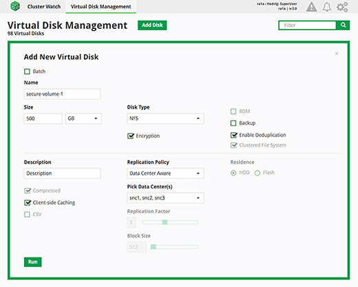 Hedvig virtual disk management